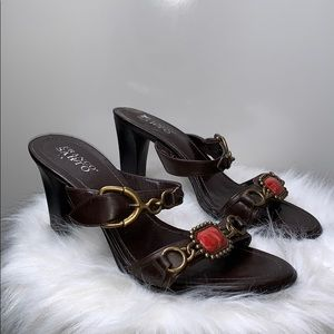 FRANCO SARTO • Brown Leather Slide Heels